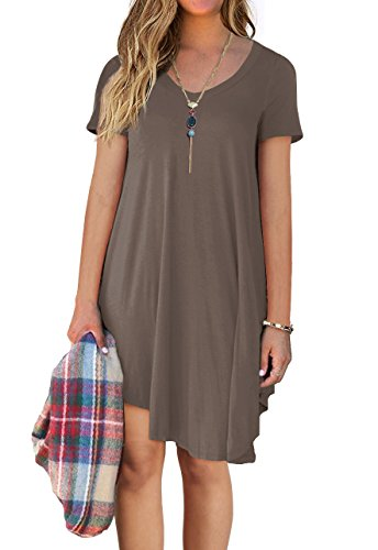 Women's Browm Loose Short 1 Casual Shirt Sleeve POSESHE Dress T Ffqww