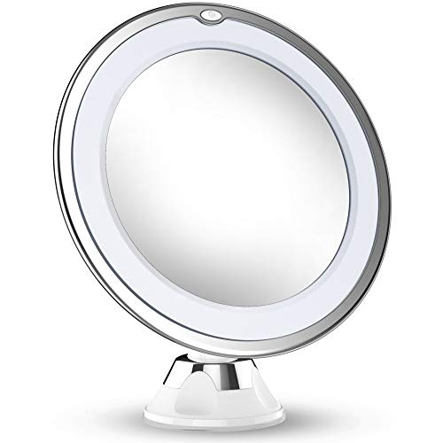 Updated 2019 Version 10X Magnifying Makeup Mirror With Lights, LED Lighted Portable Hand Cosmetic Magnification Light up Mirrors for Home Tabletop Bathroom