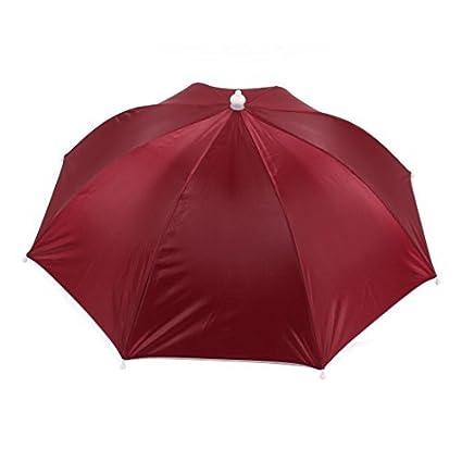 eDealMax 16.1 Largo Manos libres Borgoña paraguas Sombrero w Cuello de Gaza