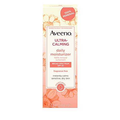 Aveeno Ultra-Calming Fragrance-Free Daily Facial Moisturizer for Sensitive, Dry Skin with SPF 30 Mineral Sunscreen, Calming Feverfew & Nourishing Oat, 2.3 fl. oz