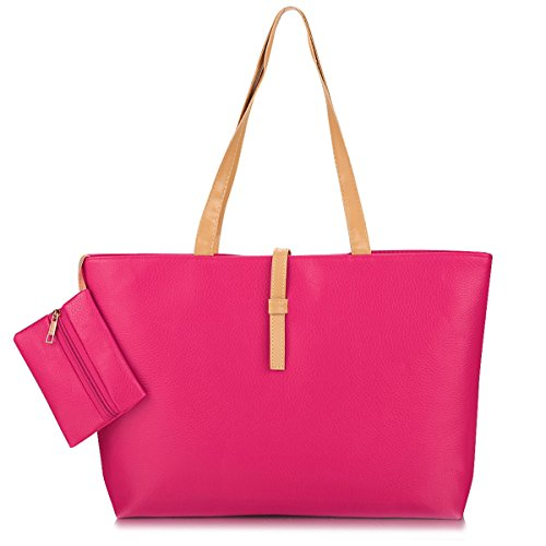 Di Ed Borsa Bag Tote Elegante Donna Cioler Alta Ampia Spalla orange Da Similpelle solida Rossa Grande Shopping In Qualità 4IH1wP