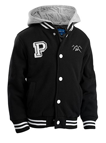 The Polar Club Big Boys' Fleece Varsity Baseball Jacket with Removable Hood (Black- -