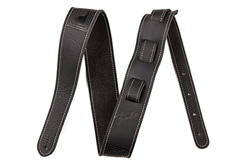 Fender Monogrammed Leather Strap - Black Leather with Tooled