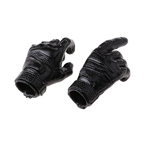MagiDeal 1/6 Scale Black Men's Gloves Hands for 12inch HT TC TTL PH Male Figures Body