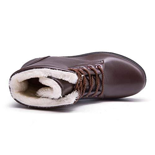 Stivali Stringate Caviglia Donna Pelliccia Invernale Scarpe 35 Neve Stivaletti Sportive Pelle Marrone 43 Piatto Caloroso da Sneaker Nero Allineato Bianca Marrone Boots xtwf7Aq7