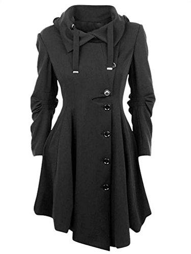 (AUSZOSLT Women's Wool Trench Coat Winter Double-Breasted Jacket Belts Black 5XL)