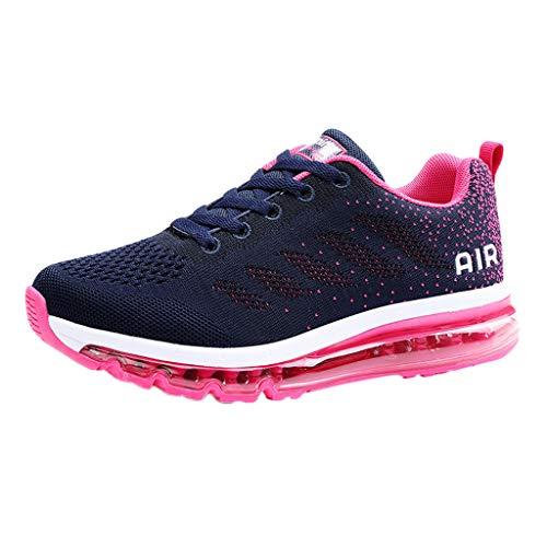 Shusuen Womens Mens Walking Casual Shoes Air Cushion Running Jogging Gym Sports Sneakers Hot Pink