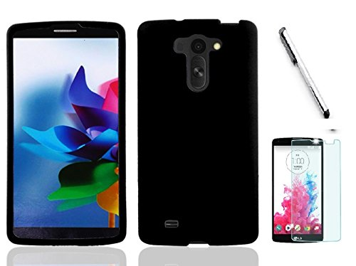 LG G Vista VS880 Case (Verizon). Luckiefind Rubberized Snap On Plastic Case Cover, Stylus Pen, Screen Protector Accessory. (Hrad Black) ()