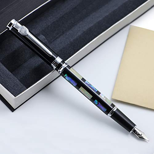 Executive Fountain Pen JinHao 8802 Fountain Pen Medium Fine Nib Deep Sea Shell with Pen Case ()