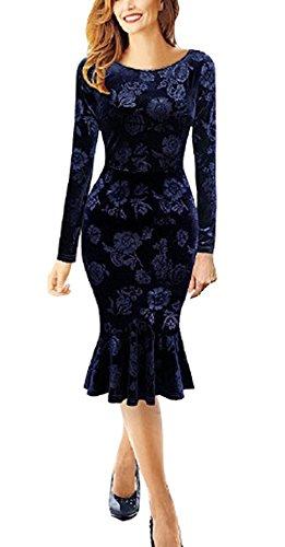 U8vision - Vestido de noche para mujer, de tubo, manga larga, cuello redondo, estilo retro, elástico, talla S-XXXL, color azul marino azul marino