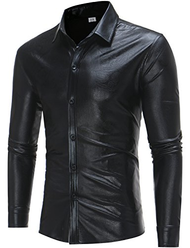 ZEROYAA Mens Hipster Geek Metallic Shinny Solid Paisley Floral Slim Fit Long Sleeve Casual Button Down Dress Shirts Z48 Black - Geek Hipster