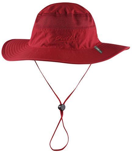 Camo Coll Outdoor Sun Cap Camouflage Bucket Mesh Boonie Hat (Red, One Size) (Hat Beach Red)