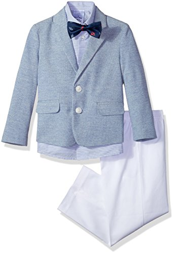 Nautica Boys' Toddler 4-Piece Formal Dresswear Suit Set with Bow Tie, Academy Pique Blue, 3T