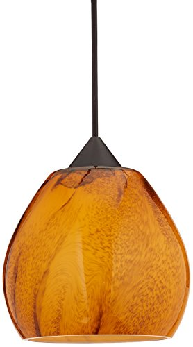 Bronze Habanero Mini Pendant - Besa Lighting RXP-5605HB-BR Tay Collection 1-Light LV Quick-Connect Mini-Pendant with Rail Adapter, Bronze Finish with Habanero Art Glass Shade