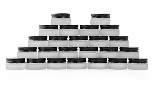 7-Milliliter Glass Lip Balm Jars (24-Pack).25-Ounce Thick-Walled Containers (Frosted white with black lids) by Cornucopia Brands