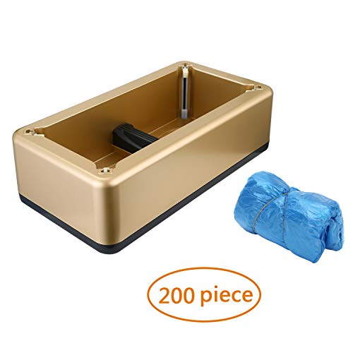 RONRI Automatic Shoe Cover Dispenser with 200pc Disposable Shoe Covers Slipcover for Medical, Home, Shop and Office (Gold)