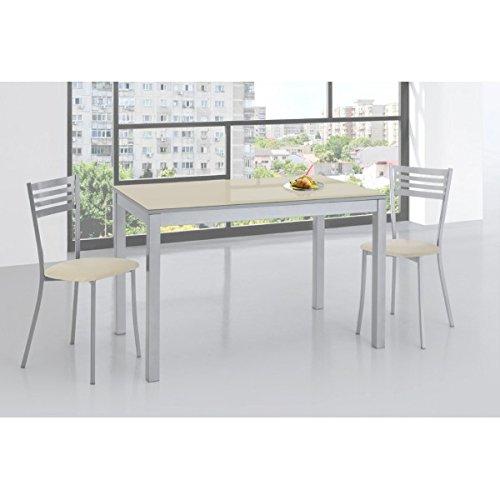 SHIITO Mesa de Cocina 120x70 cm Fija y Tapa en Cristal: Amazon.es ...