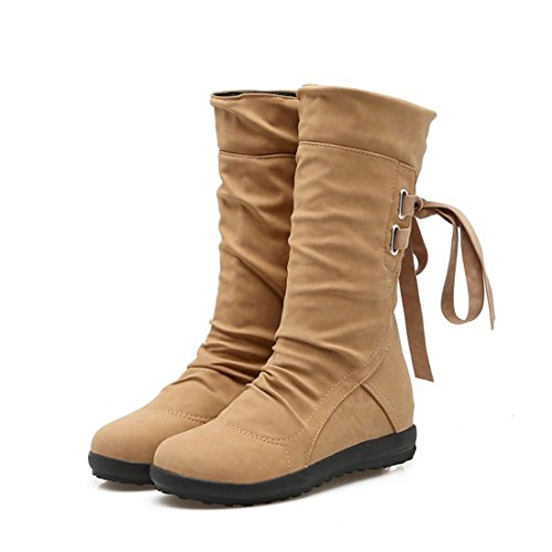 Girls Wide Winter Shoes Boot Up amp;N Women Mid Lace Snow calf O Brown Calf ESCqzx
