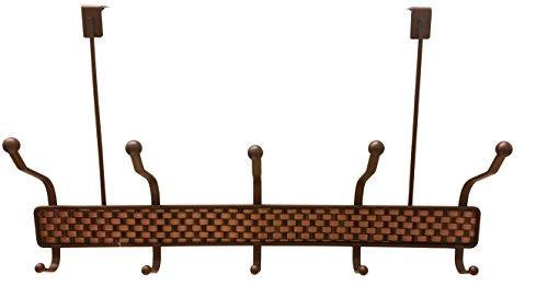 Coat Towel Hooks 5 Double Hook Rack Bronze Weaved design two tone (OVER DOOR) By Decor Hut
