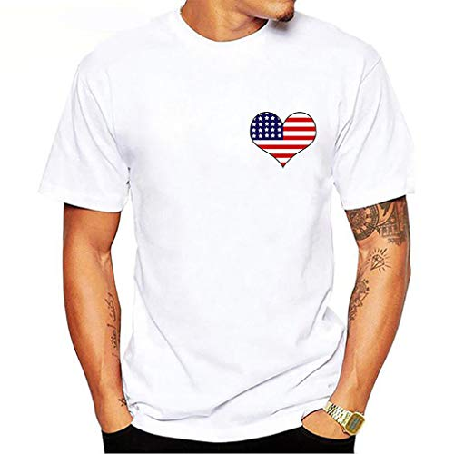 Tee T Shirt Short Sleeve Heavyweight Crew Neck Independence Day Casual Fashion Printed Blouse Top (L,2- White)]()