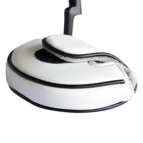 (PGC Small Size White Leather Style Mallet Putter Headcover Pu Material (Designed for Smaller Mallet Putters))