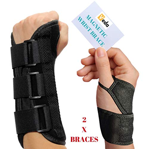 Removable Splint (VEDA Wrist Splint and Magnetic Wrist Braces Hand Compression Support for MEN Women Carpel Tunnel, Tendinitis, Bowling, Sports Injuries Pain Relief Removable Splint Universal Ergonomic Fit (RIGHT HAND))