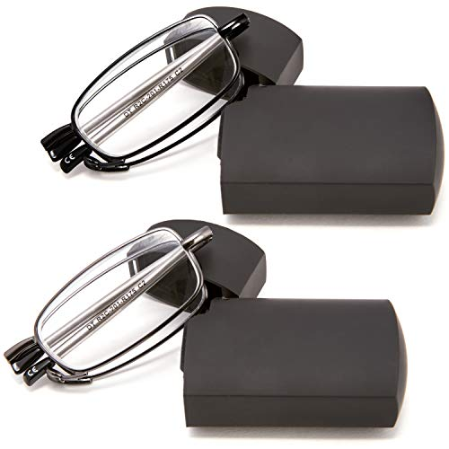 DOUBLETAKE Reading Glasses - 2 Pairs Folding Readers Includes Glasses Case 2.00