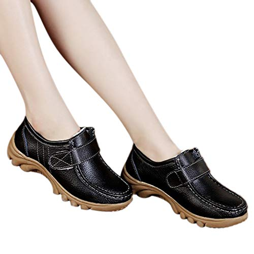 - kaifongfu Women's Single Flat Shoes Solid Color PU Leather Non-Slip Peas Shoes(Black,41)