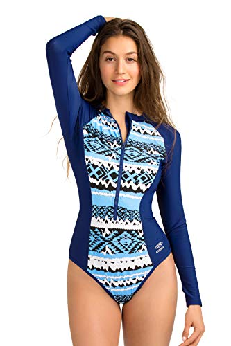 8ef3a0d91 AXESEA Womens Long Sleeve Rash Guard UV UPF 50+ Sun Protection Printed  Zipper Surfing One Piece Swimsuit Bathing Suit (12