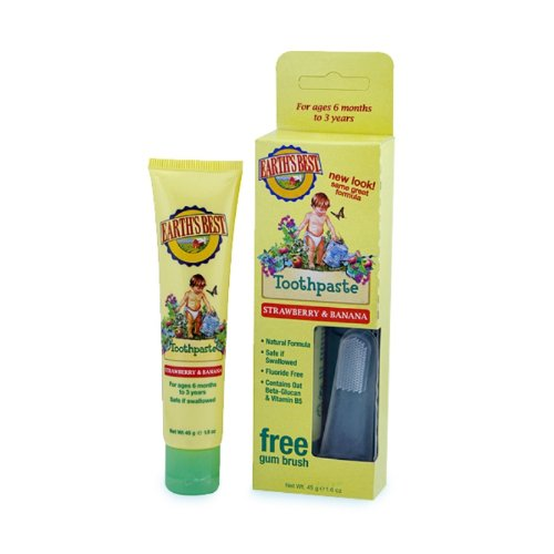 Earth's Best Toddler Toothpaste Strawberry Banana, 1.6 Ounce (Best Toothpaste For Toddlers)