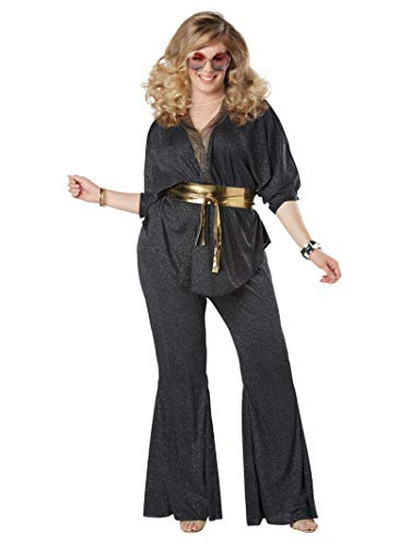 California Costumes Women's Size Disco Dazzler Plus Costume, black/gold, 1X Large