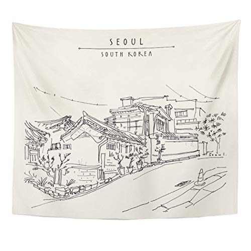 Emvency Decor Wall Tapestry Seoul South Korea Asia Traditional Korean Hanok Houses Bukchon in Retro Travel Sketch Vintage Touristic Book Wall Hanging Picnic for Bedroom Living Room Dorm 60x50 Inches ()