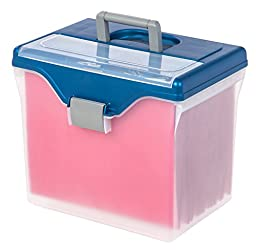 IRIS Portable Letter Size File Box with Organizer Top