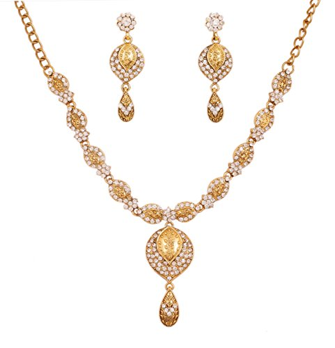 Touchstone MEW Indian Bollywood Trendy Fine Craftsmanship Scintillating White Rhinestones Designer Jewelry Necklace Set in Gold Tone for Women.