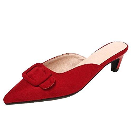 Femmes Back Open Taoffen Red Heel Kitten Sandales 7SSBRw