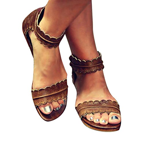 ZOMUSA Hot Sale Women Summer Flat Wedge Espadrille Rome Sandals Platform Shoes (US:6.5, Brown) (Sandals Brown Leather)