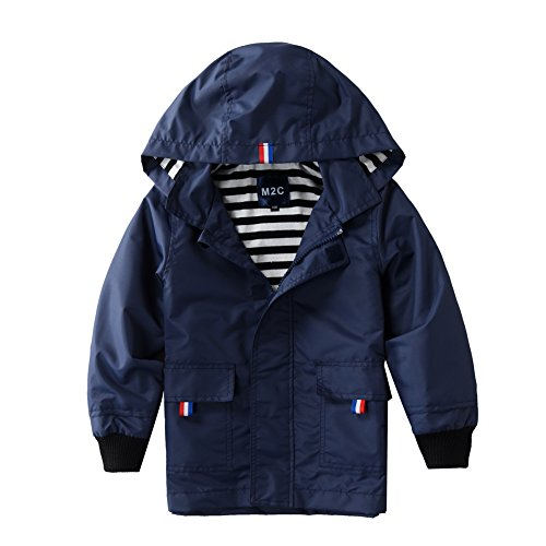 M2C Boys Raincoat Hooded Jacket Outdoor Light Windbreaker 7/8 Navy by M2C