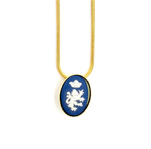 Wedgwood Authentic Cameo in Gold Plate Pendant Setting - Crowned Lion on Blue