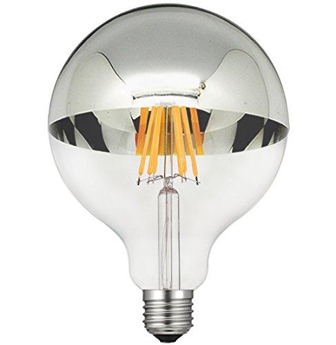 Globe Half Mirror - CanYa G125 led bulb 60 Watt Equivalent G125 half sliveE26 Based LED Filament Bulb with Mirror Half Chrome Silver Globe Shape Bulb Energy Saving 2700K Warm White for Decorate Home celebration Pack of 1