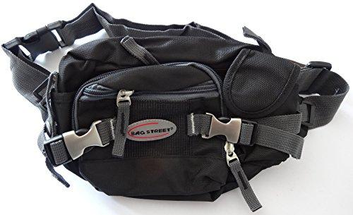 NB24 Bauchtasche, Gürteltasche, schwarz, Geldtasche für Damen, Herren, Nylon, Bag Street, Tasche, Freizeittasche, Schultasche
