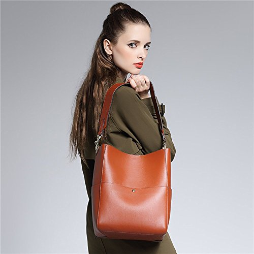 S-ZONE monedero de la bolsa de hombro de la vendimia de la manera de las mujeres (blanco-gris) marrón