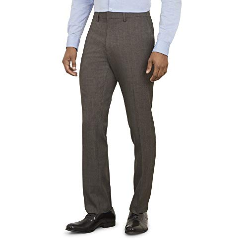 (Kenneth Cole REACTION Men's Stretch Windowpane Grid Slim Fit Dress Pant, Brown Heather, 34Wx34L)