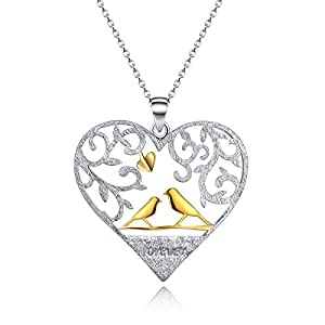 """""""Home And My Angel Mother"""" Sterling Silver Heart Necklace Gold Plated Mother And Child Birds Necklace"""