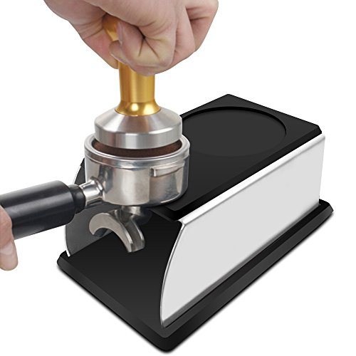 Coffee Temper Stand, DLAND Sturdy Stainless Steel Tamping Stand for Coffee Machine and Coffee Tamper Storage Base with Mat Hand Coffee Tampers Accessories
