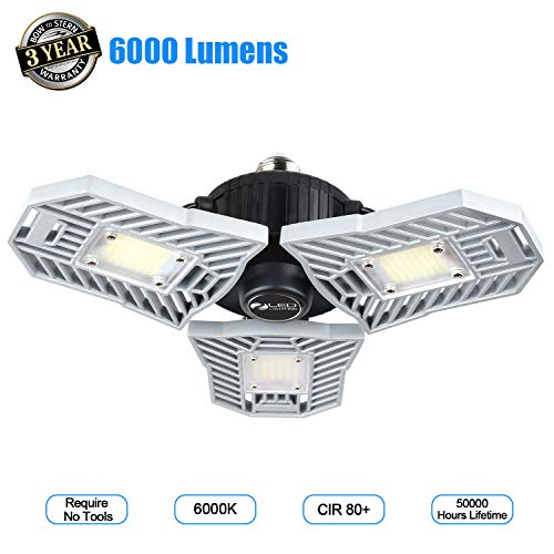- Garage Light 6000 Lm Deformable LED Garage Ceiling Lights 60W CRI 80 Led Shop Lights for Garage 3 Adjustable Panels Utility Led Garage Lighting Workshop Light(60W Standard)