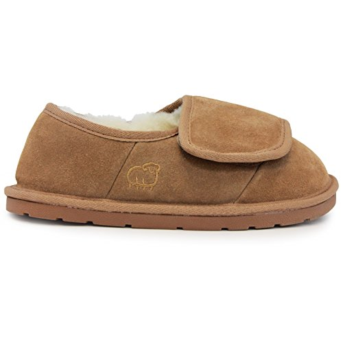 Ladies Closed Toe/Heel Wrap Bootie - Womens Adjustable Strap Bootie, Chestnut, M US (Hearth Good)