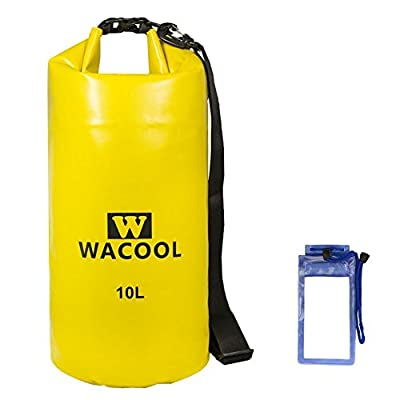 WACOOL WaterProof Dry Bag, with Shoulder Strap & Free Bonus Smartphone Dry Bag, Roll Top Dry Compression Sack Keeps Gear Dry