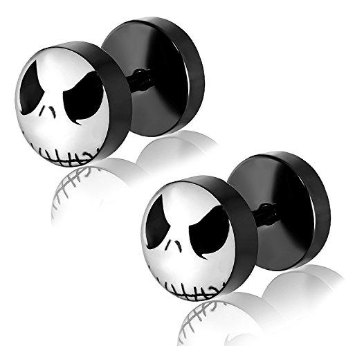 Comfort Zone Studios 8 MM (0g) Black Stainless Steel Two-Tone Jack Skellington Mask Circle Faux Fake Cheater Ear Plugs Gauge, Pair
