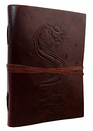 Hand Painted Dragon Embossed Leather Journal Diary Notebook Men Women Small Gift for Him (Hand Painted Dragon)