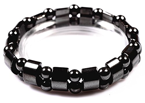 VIKI LYNN Hematite Black Pearl Bracelet, Necklace and Anklet Hematite Metal Magnetic Therapy Bracelets for Arthritis Pain Relief and Sports Related